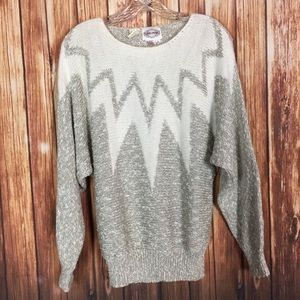 Vintage Plums & Pearls LG Gray Angora Knit Sweater